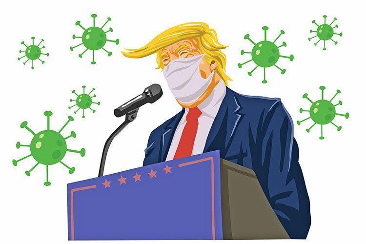 ترامپ انتها ماسک زد ، آبی با نشان رئیس جمهوری ایالات متحده